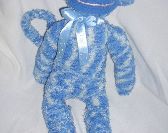 Blue Heather plush sock monkey toy