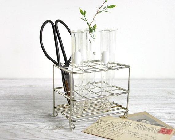 Vintage Chemistry Test Tube Rack with 5 Test Tubes / Metal