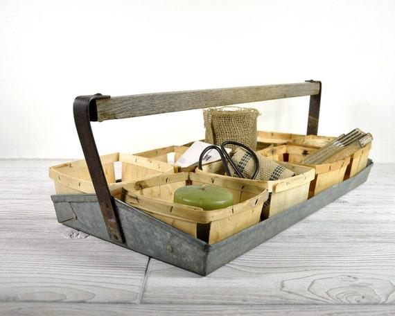 RESERVED - Vintage Industrial Metal Berry Carrier / Industrial Decor