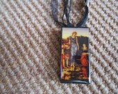 SALE The Mirror of Venus painted by Pre Raphaelite art Edward Burne Jones.  Domino pendant. SALE