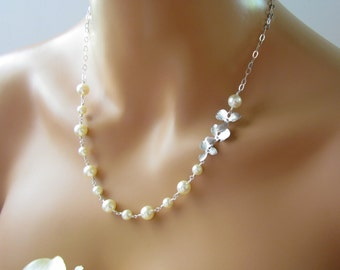 Silver Orchid and Cream Pearl Necklace Bracelet and Earrings, Pearl Bridal Set, Sterling Silver, Pearl Wedding Jewelry, Ivory Pearl Necklace