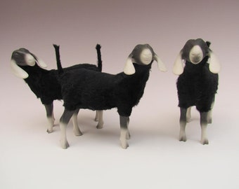 North Carolina Made Black & White Porcelain Nubian Goat