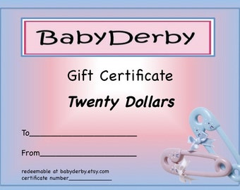 BabyDerby Gift Certificate 20.00 - Perfect Shower Present
