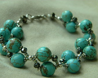Double Strand Turquoise Howlite and Crystal Weaved Bracelet