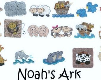 17 Machine Embroidered Noah's Ark Quilt Blocks