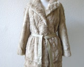 vintage 70's luxurious faux mink fur coat with leather belt in fawn beige.