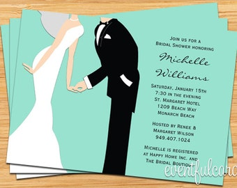 Wedding Bridal Shower Invitation Couple - You Pick the color