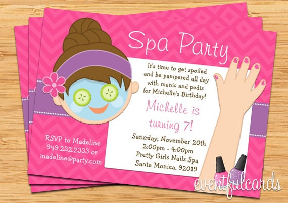 Spa Party Kids Birthday Invitation Mani Pedi by EventfulCards