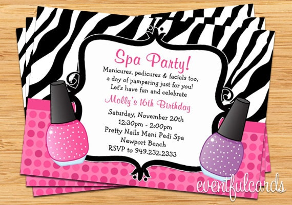 Spa party birthday invitation zebra stripe zoom stopboris