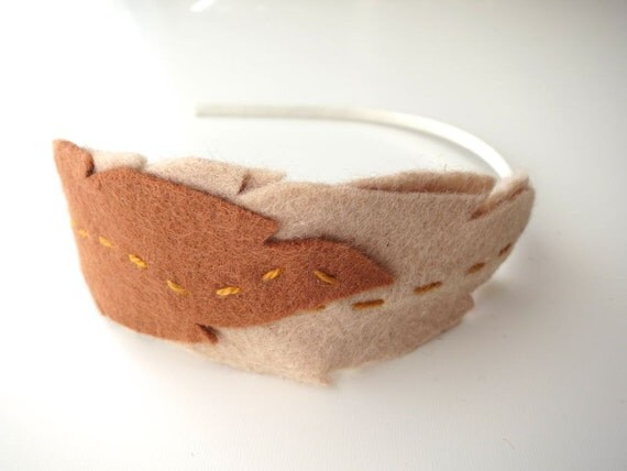 Boho Stitched Felt Feather Headband . Camel . Rust . Brown . Taupe . Bark - Fairy Woodland