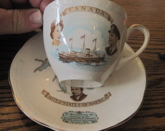 Alfred Meeks St Lawrence seaway commeritive tea cup and saucer 1959