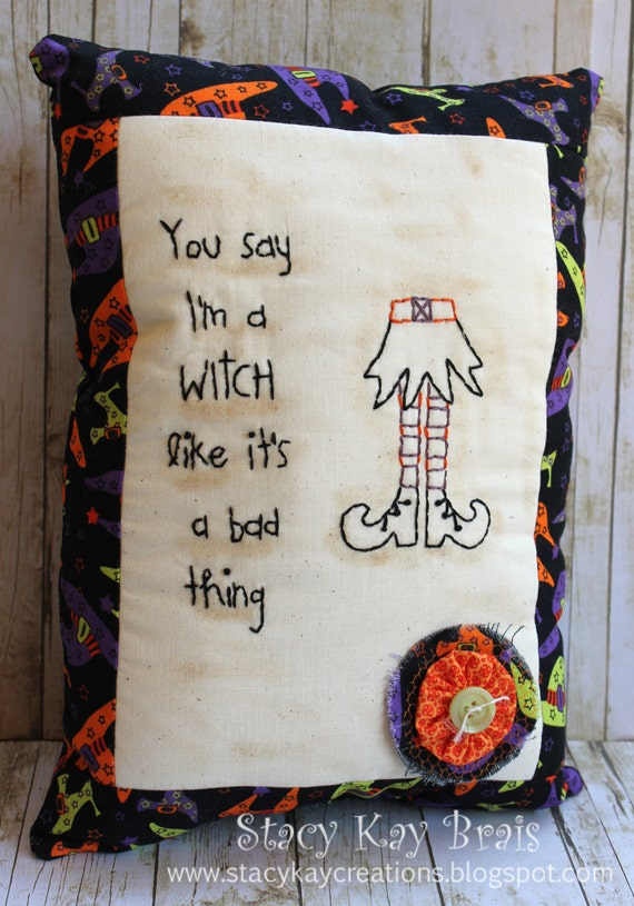 Handmade Primitive Fall/Halloween Witch Pillow  Embroidery Country Hand Stitched Rustic Tea Stained Muslin Stitchery