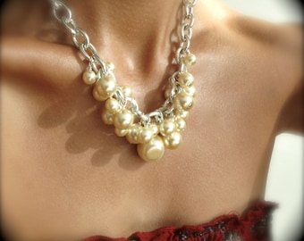 Ultra-chunky ivory pearl and silver chain necklace