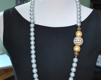Light Grey Pearl Long Necklace with Asymetrical Rhinestone Ball
