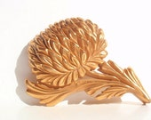 Vintage Big Flower Goldtone Carved Brooch, 1970s