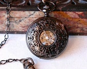Pocket Watch - Art Nouveau New Orleans Black Filigree  with COPPER Roman Numerals, Hand Wound and open Mechanical  Steampunk back