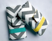 Grey Chevron & Aqua or Yellow Crochet Hook Case with Sewn in Zipper Pocket Tunisian Plymoer Clay Armour Soft Grips Cosmetic Make-Up Roll
