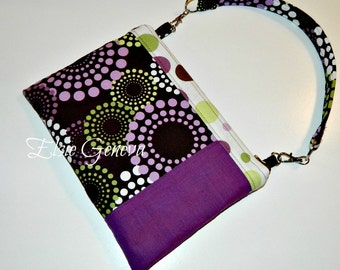 Brown and Purple Dots Circles Phone Case with Wristlet or Shoulder Strap - Also Available in Black Yellow and Aqua Option