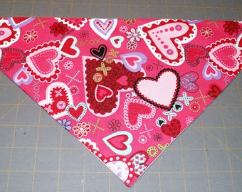 Valentine Dog Bandana, Neckerchief, February, Love, Hearts