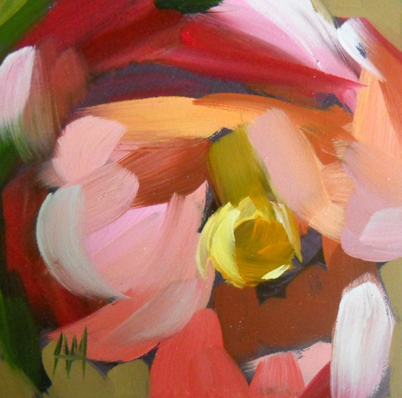 pink camellia blossom original painting by moutlon 4 x 4 inches