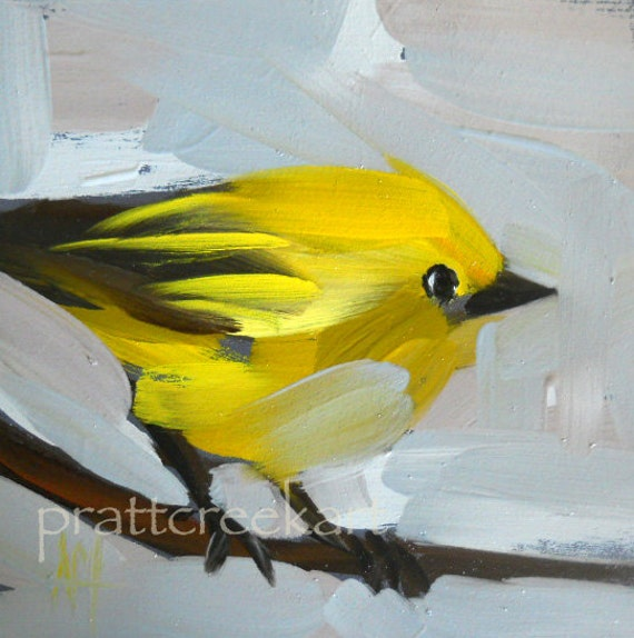 yellow warbler no.12 original painting by moulton 4 x 4 inches