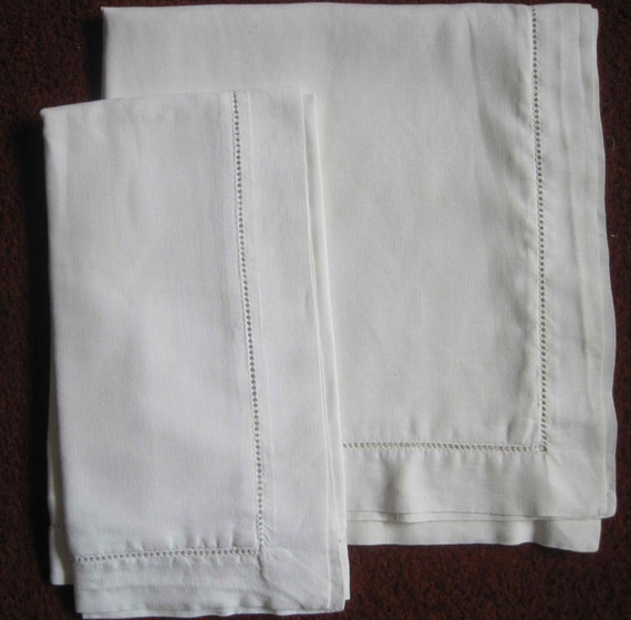 Reserved for bgorman: Pair of French vintage linen large square Oxford style pillowcases