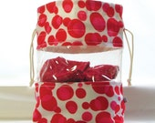 Peekaboo knitting project bag - with transparent window - Red and Pink