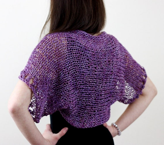 Hand Knit Shrug Knit Bolero Purple