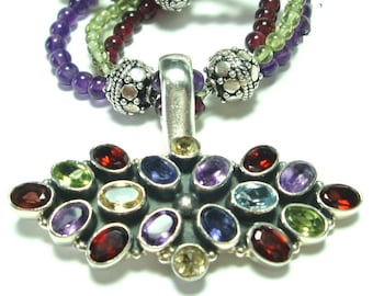 Rainbow Multigem Pendant In Sterling with 3 strand Peridot Garnet and Amethyst Necklace