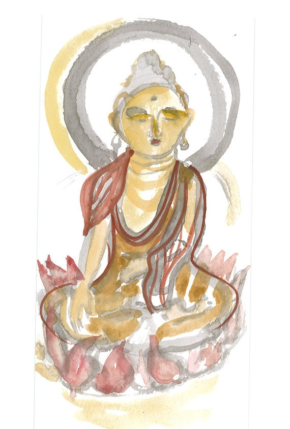 Zen Brush Fine Art  Painting Buddha Meditating Sumi Watercolor Brush Painting