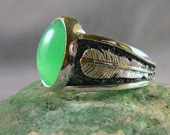 Chrysoprase at Two Feather Bridge, Apple Green, Sterling Silver