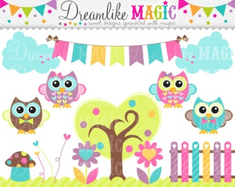 Little Hoot Garden- Clipart for Personal or Commercial Use