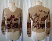 Rare 1950's collectable Hopalong Cassidy pull over cotton knit sweater top rockabilly western horse lover - size Medium to Large
