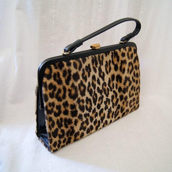 Killer 1950's leopard faux fur purse handbag rockabilly bad girl vlv