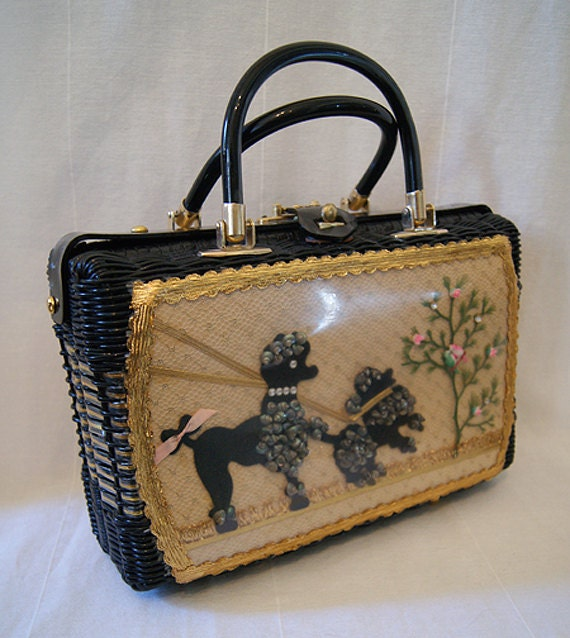 Chic 1950's black woven handbag with lucite trim black poodles and gold accents rockabilly purse vlv kitsch