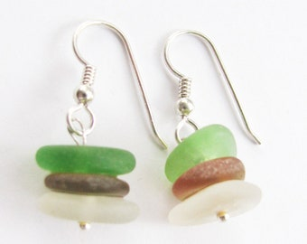 Sea Glass Earrings Jewelry, Stacked Sea Glass Earrings, Seaglass Earrings, Drop Earrings,  Beach Glass Dangle Earrings, Sea Glass Jewelry