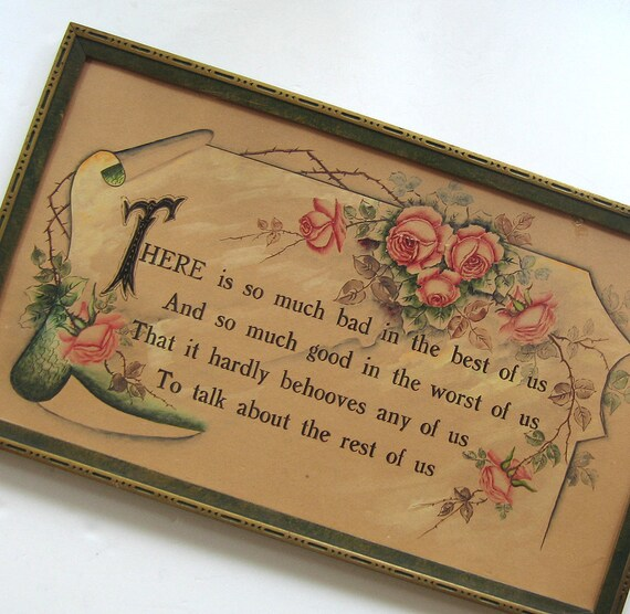 Hand Painted Victorian Wall Decor - GOSSIP Quotation - Vintage Framed Wall Hanging