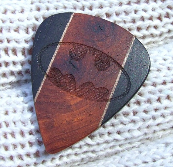 Tribute to Batman - Handmade Exotic Woods Premium Laser Engraved Guitar Pick