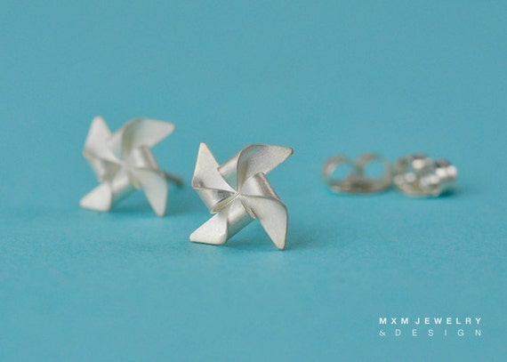 "Handfolded Pinwheel / Windmill Earrings 0.3"" (No Ball in Center)"