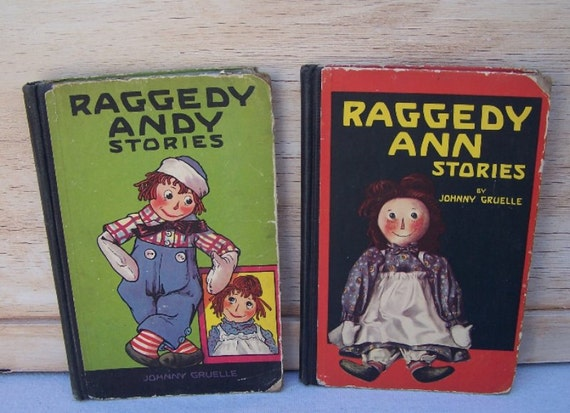 Raggedy Ann and Raggedy Andy Rare Vintage books, Copyright 1918 and 1920, Written and Illustrated by Johnny Gruelle