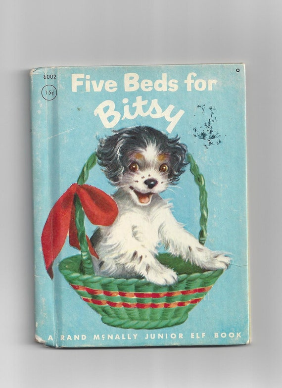 Vintage Rand McNally 1950 Five Beds for Bitsy A Puppy Grows Up Children Junior Elf Story Book by Ian Munn