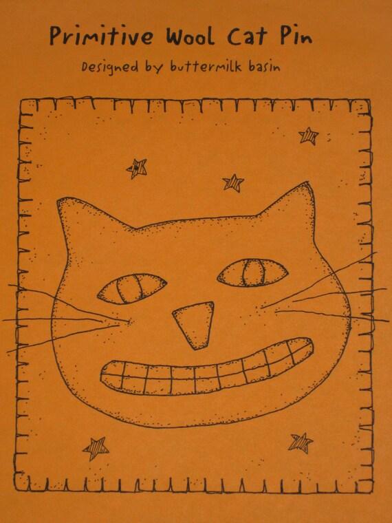 Primitive Cat Pattern Wool Pin Buttermilk Basin Folk Art Cat