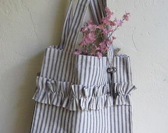 Ruffled blue ticking stripe cotton market tote bag