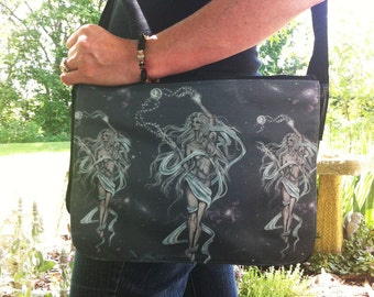 Moon Goddess Fantasy Art Shoulder Bag With Changeable Hand Pressed Flap