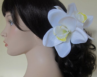 Hawaiian  White - Yellow  Two Orchids hair flower clip - weddings- 6.5 inches