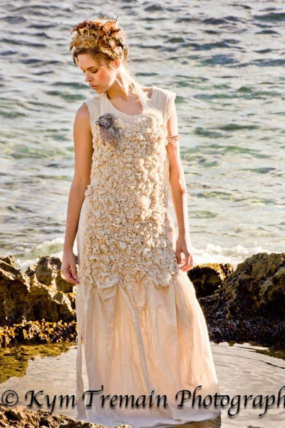 SALE, Ready to Ship- Sea Urchin Bib. Textured, Gathered Apron. Unconventional Wedding Dress. Experimental Clothing, By RawHemline on etsy