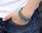 Turquoise Triple Wrap Unisex Bracelet Anklet