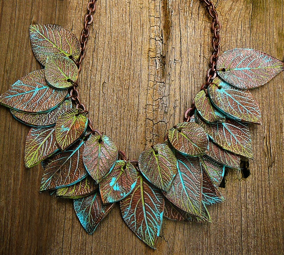 Leaves copper and patina polymer clay necklace