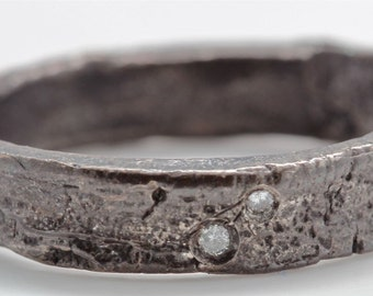 Blackened Silver Diamond Tree Bark Ring  with engraving sizes 4 to 11 made to order