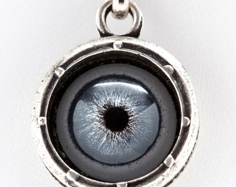 Evil-Eye  Necklace Porthole ( blue human glass eye) Made in NYC